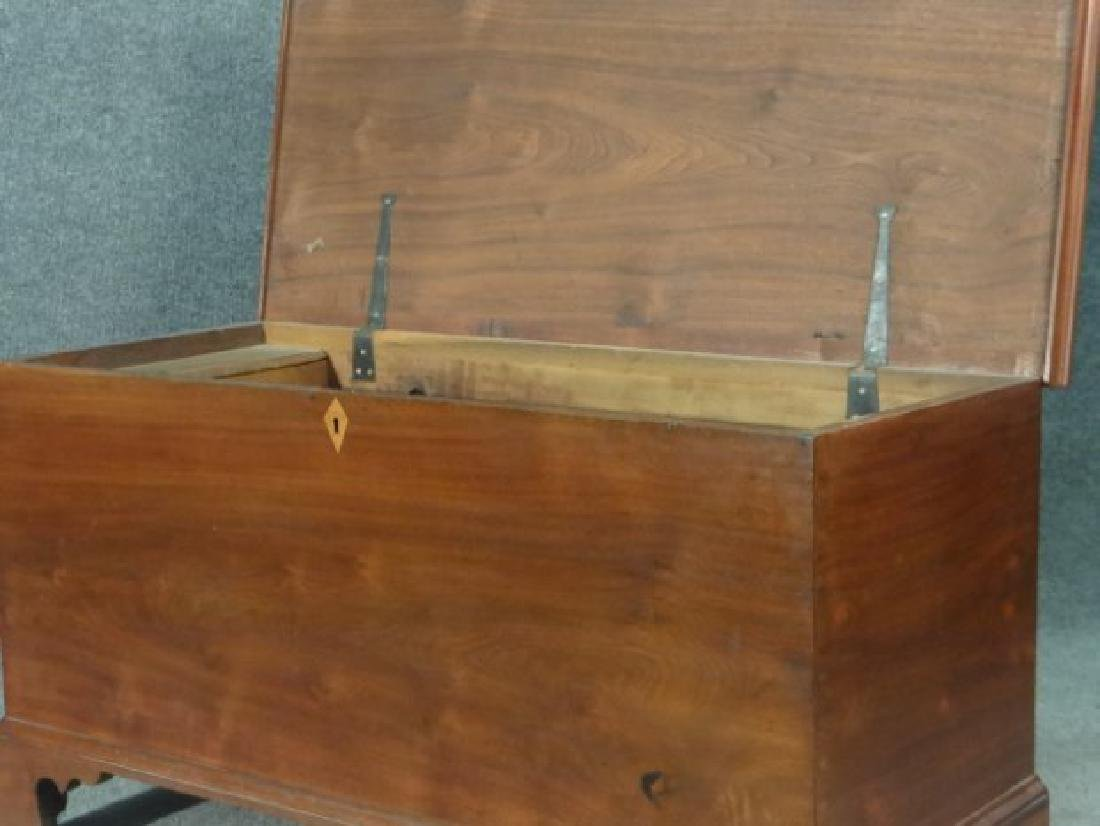 WALNUT BRACKET FOOTED BLIND DOVETAILED BLANKET BOX - 4