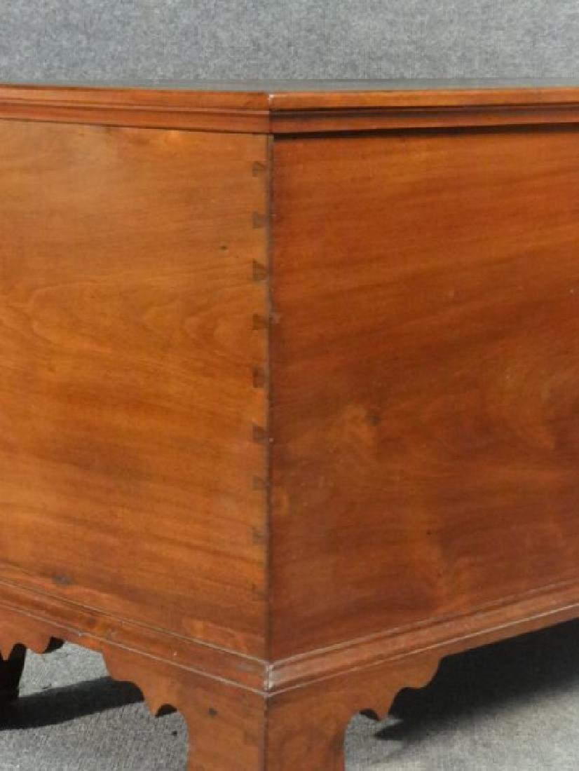WALNUT BRACKET FOOTED BLIND DOVETAILED BLANKET BOX - 5
