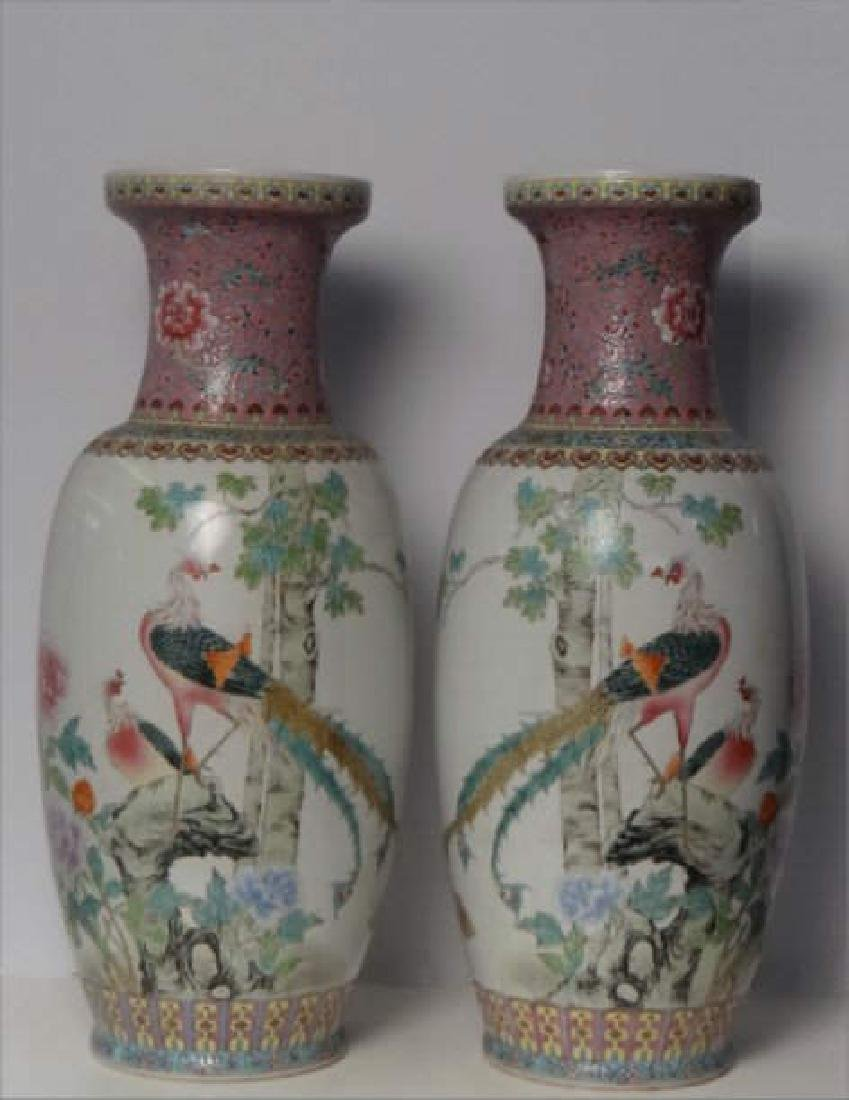 "PR OF 25"" TALL CHINESE HAND PAINTED VASES C.1930"