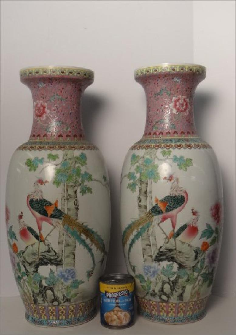 "PR OF 25"" TALL CHINESE HAND PAINTED VASES C.1930 - 2"