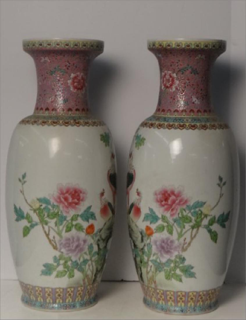 "PR OF 25"" TALL CHINESE HAND PAINTED VASES C.1930 - 3"
