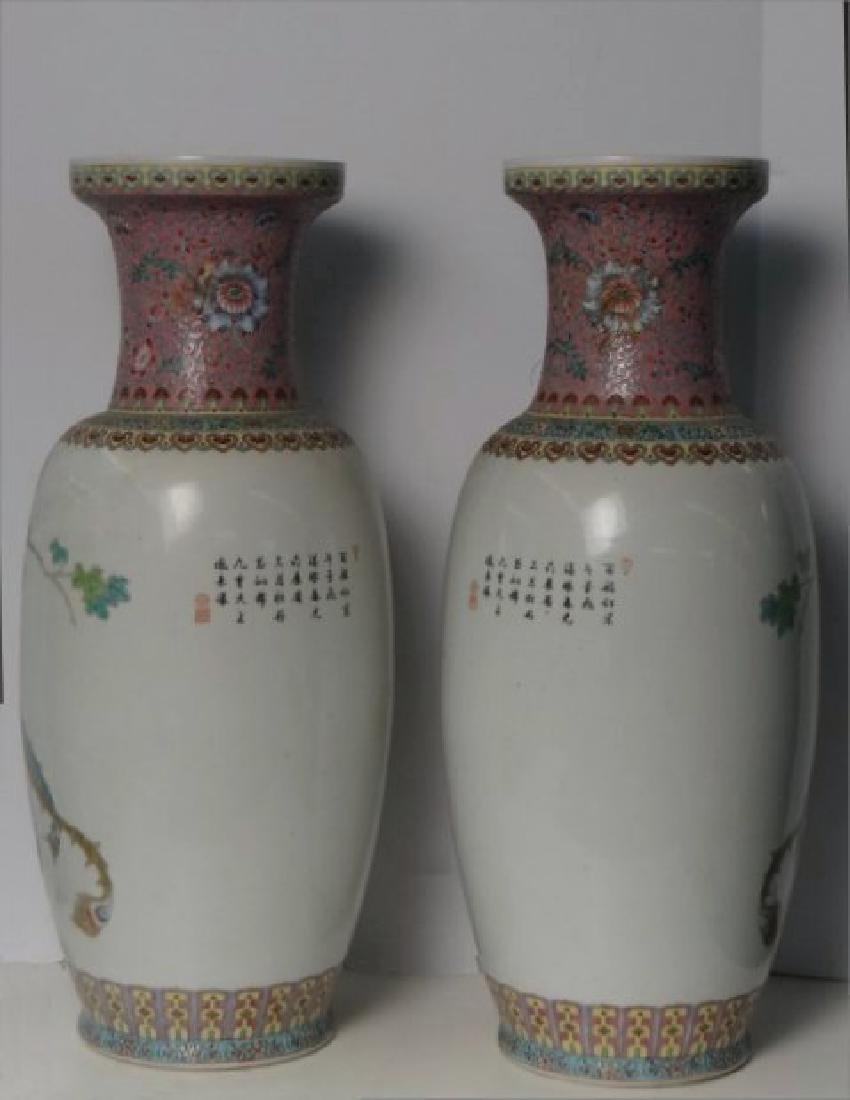 "PR OF 25"" TALL CHINESE HAND PAINTED VASES C.1930 - 4"