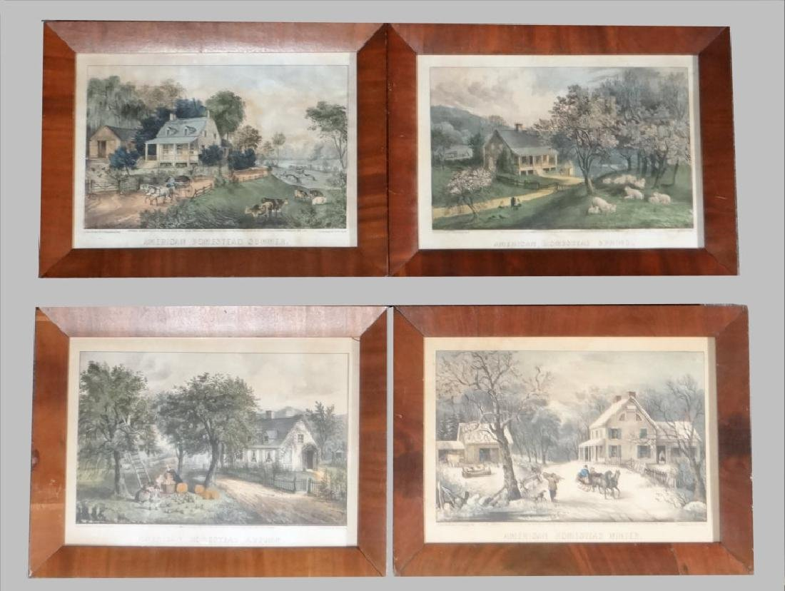"""4 SM FOLIO """"AMERICAN HOMESTEAD"""" CURRIER & IVES"""