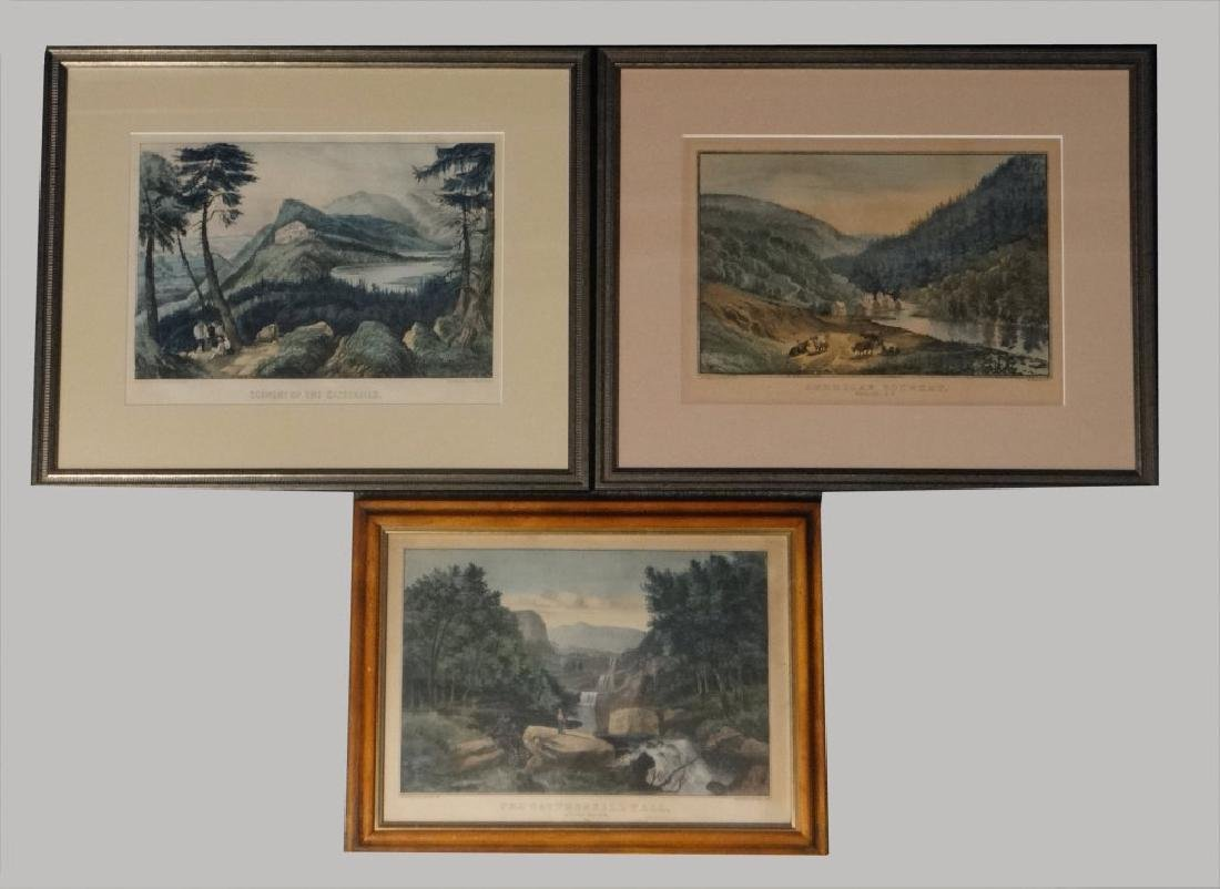 3 SMALL FOLIO CURRIER & IVES:THE CATTERSKILL FALLS