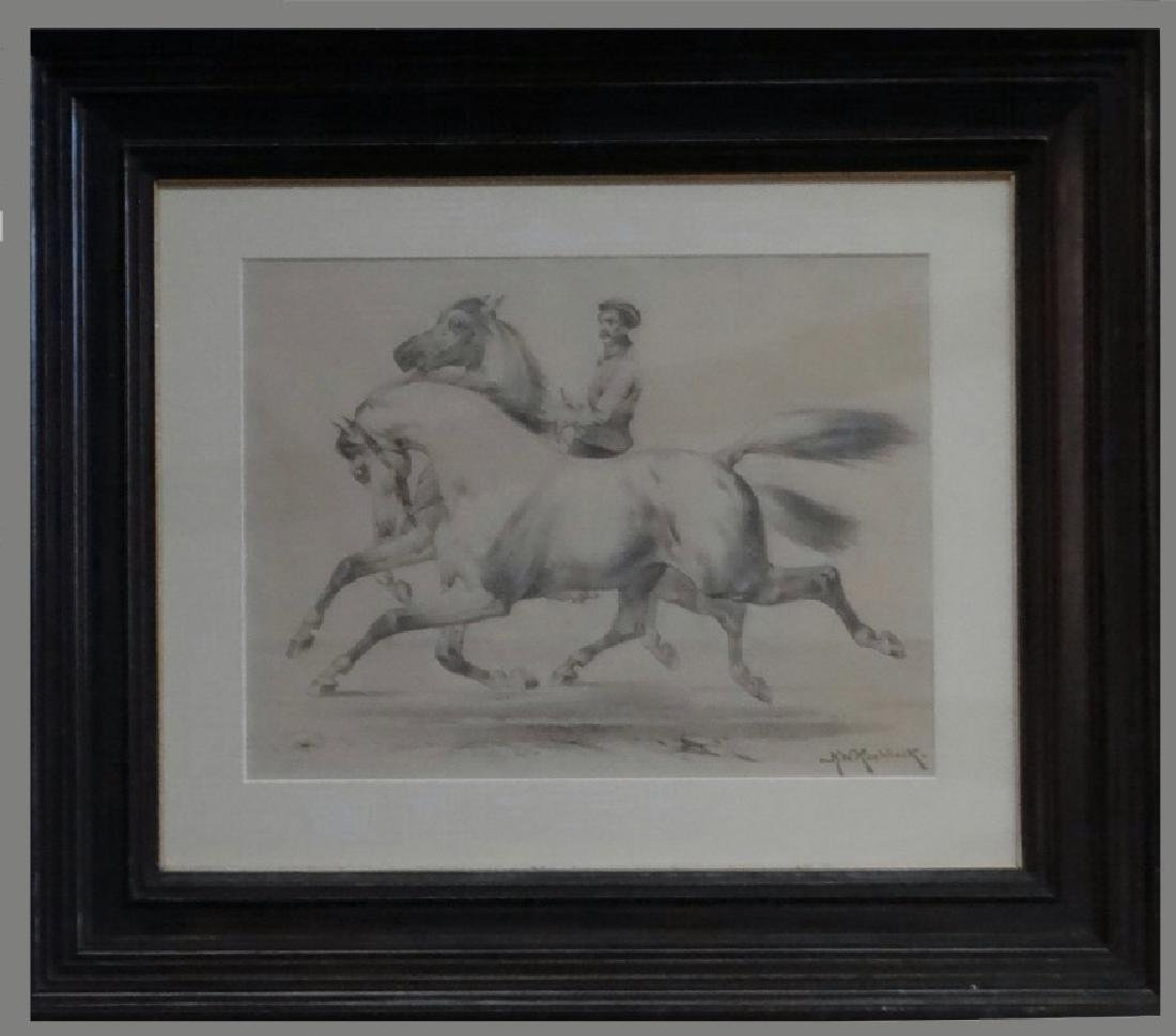 "GRAPHITE ON PAPER ""HORSES WITH TRAINER"" SGND"