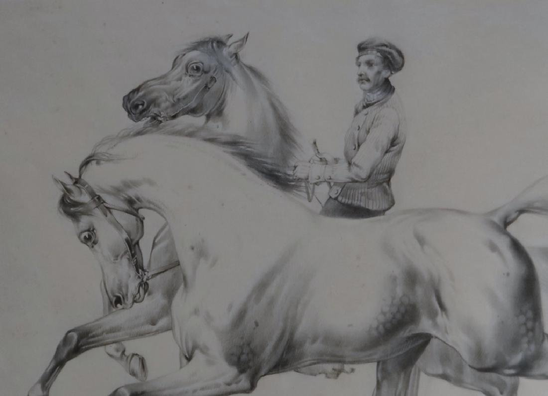 "GRAPHITE ON PAPER ""HORSES WITH TRAINER"" SGND - 3"