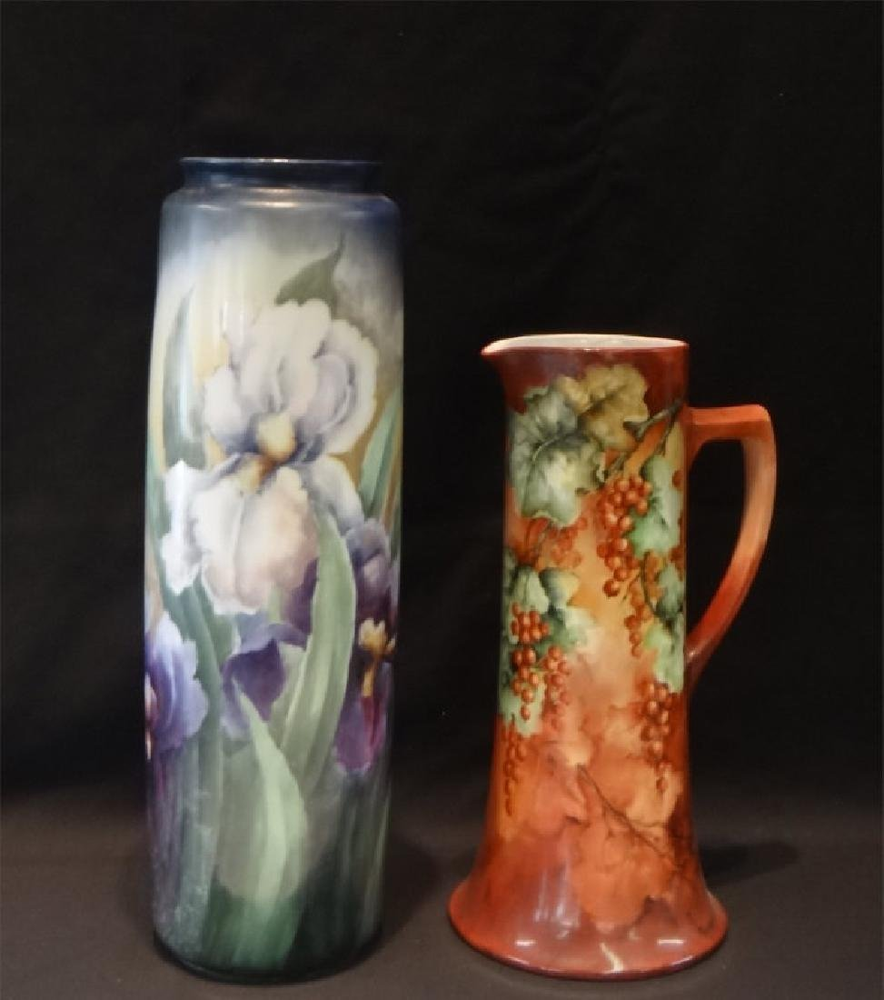 """HAND PAINTED LIMOGES 18"""" VASE & 13 3/4"""" PITCHER"""