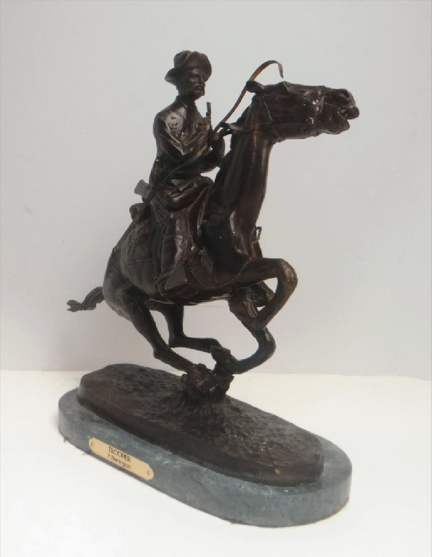 "BRONZE ""TROOPER"" SGND FREDERIC REMINGTON - 3"