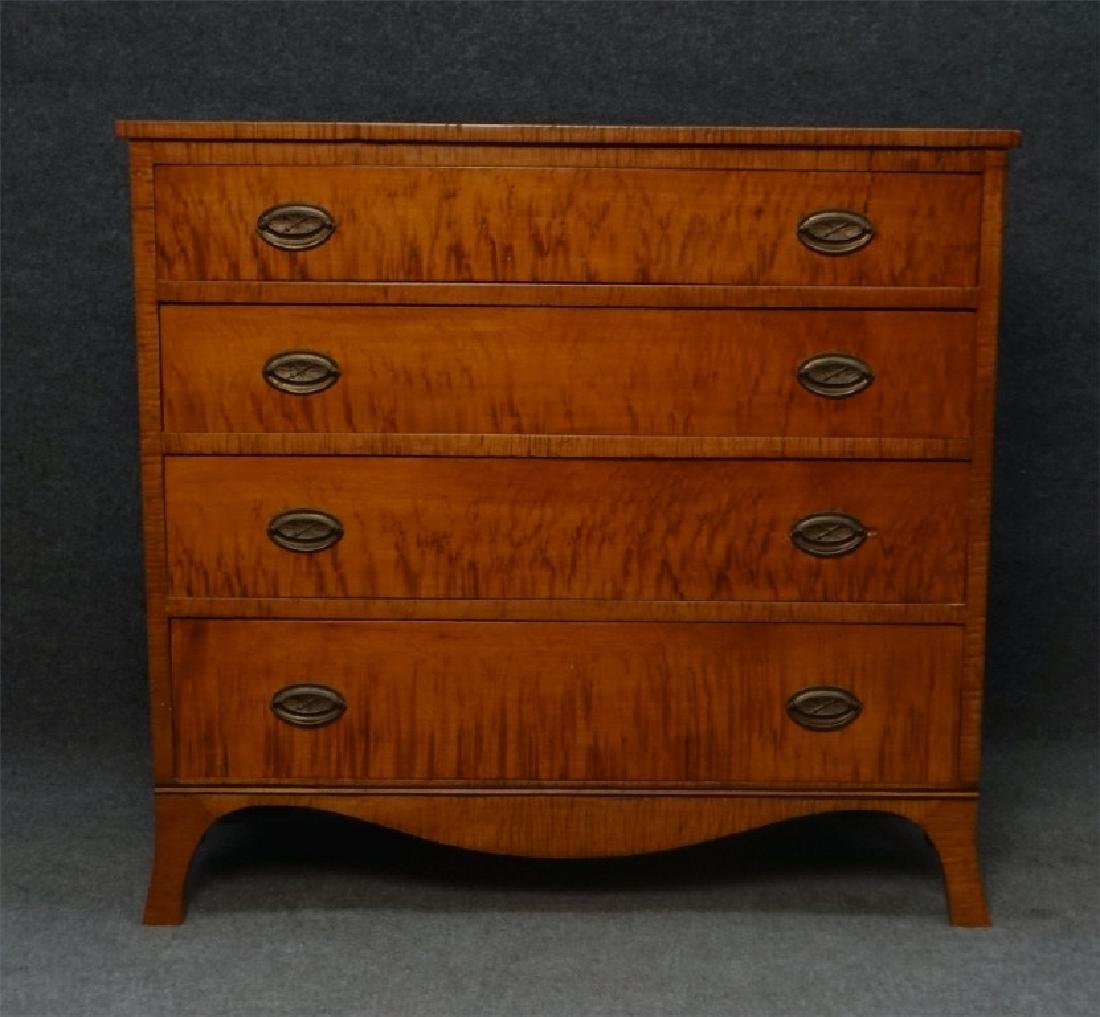 4 DRAWER TIGER MAPLE HEPPLEWHITE CHEST