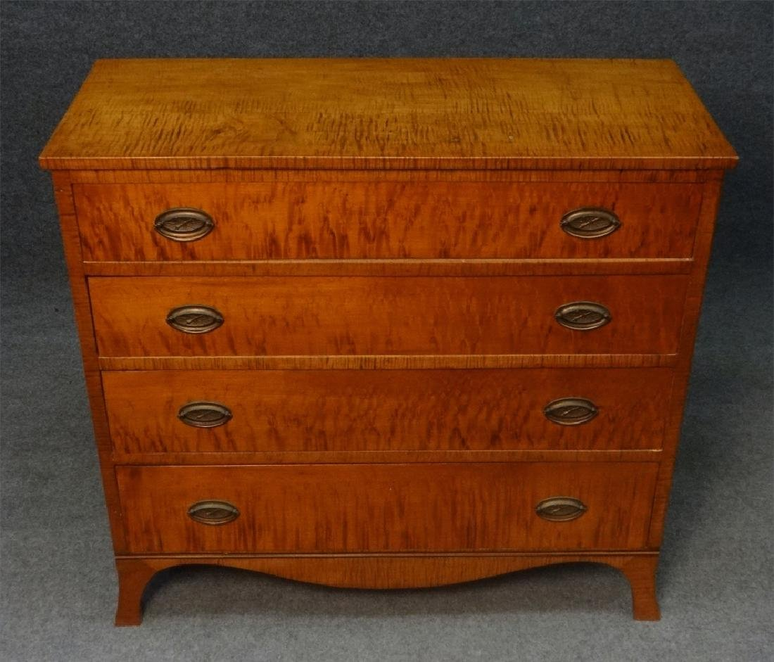 4 DRAWER TIGER MAPLE HEPPLEWHITE CHEST - 4