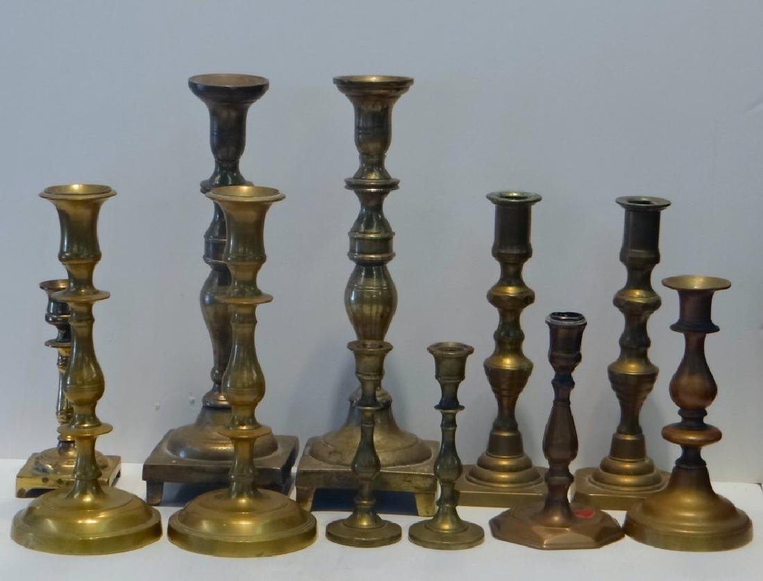 11 BRASS CANDLESTICKS 18TH, 19TH & 20TH CENTURIES