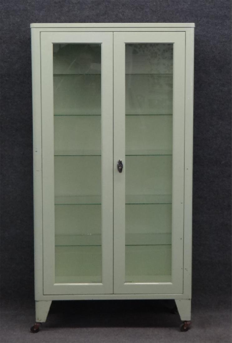 2 DR METAL & GLASS CABINET BY UNITED METAL FABRI. - 2
