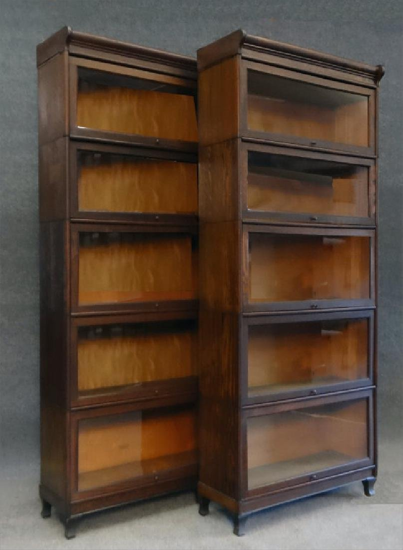 PR OF 5 SECTION OAK BARRISTER BOOKCASES
