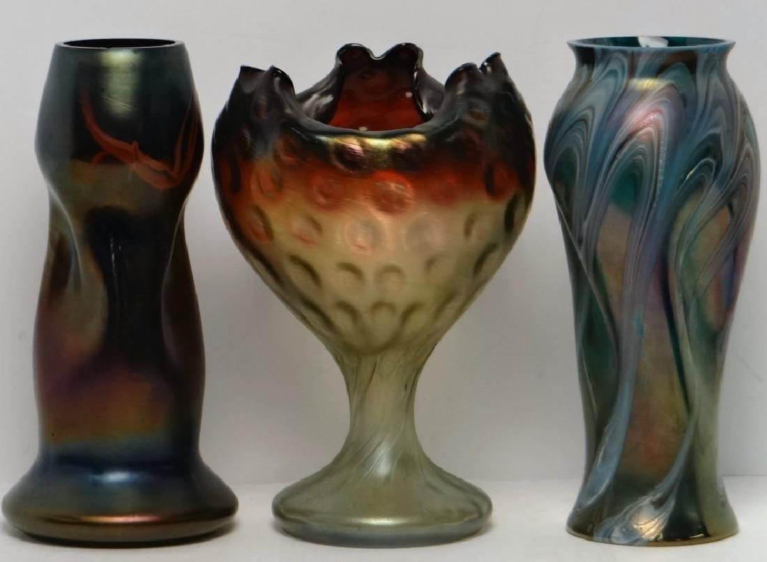 3 PC. RINDSKOPF GLASS VASES, ALL W/ MINOR ROUGHAGE