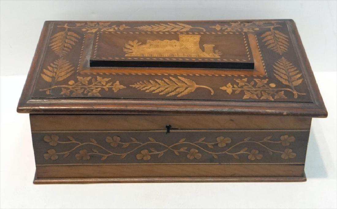 IRISH INLAID BOX, WARPED LID-HINGES