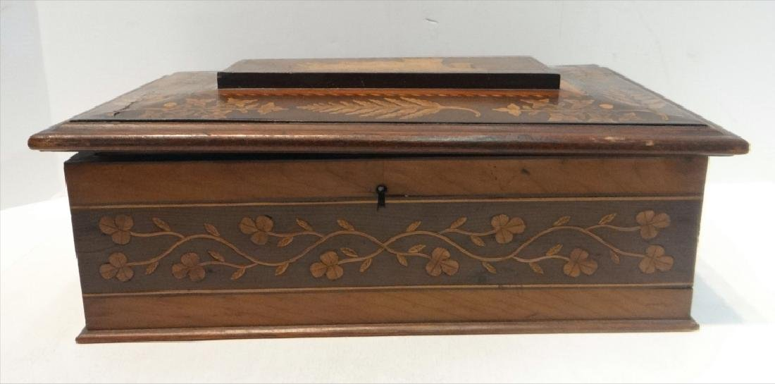 IRISH INLAID BOX, WARPED LID-HINGES - 3