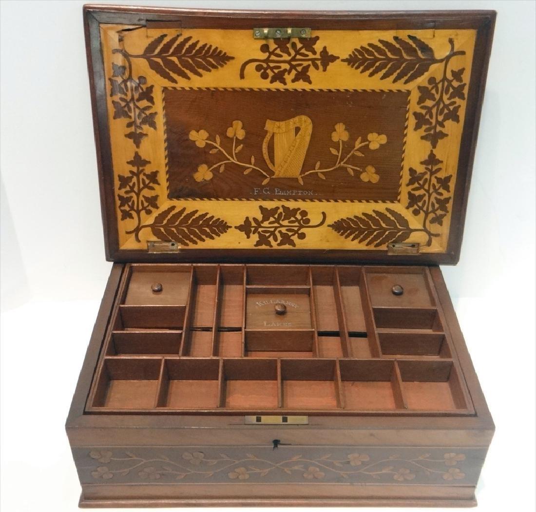 IRISH INLAID BOX, WARPED LID-HINGES - 4