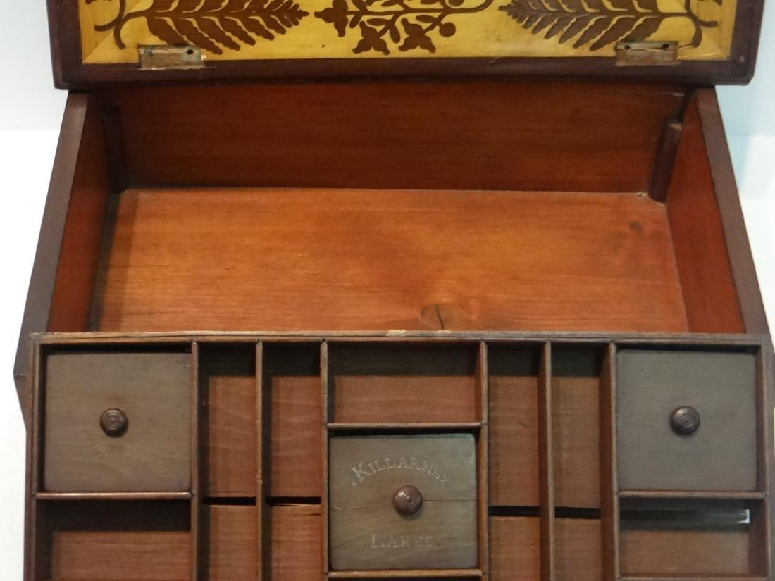 IRISH INLAID BOX, WARPED LID-HINGES - 6