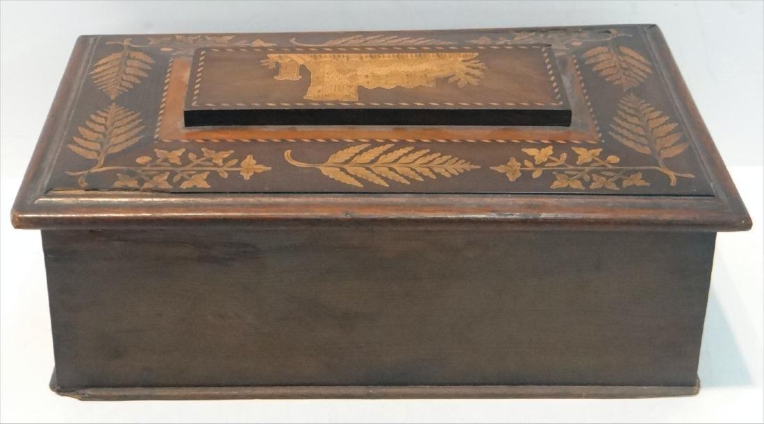 IRISH INLAID BOX, WARPED LID-HINGES - 7