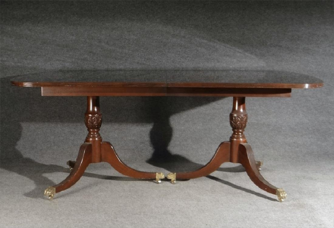 MAHOGANY DOUBLE PEDESTAL DINING TABLE W/ BANDED