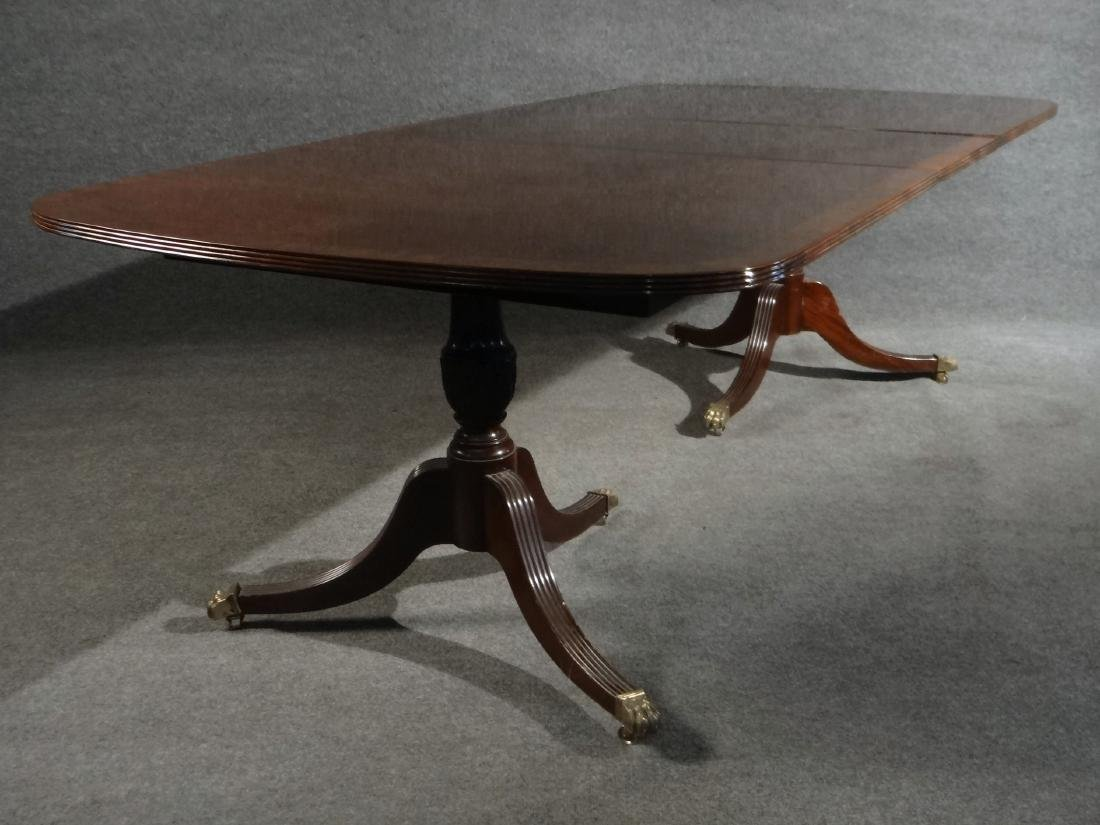 MAHOGANY DOUBLE PEDESTAL DINING TABLE W/ BANDED - 2