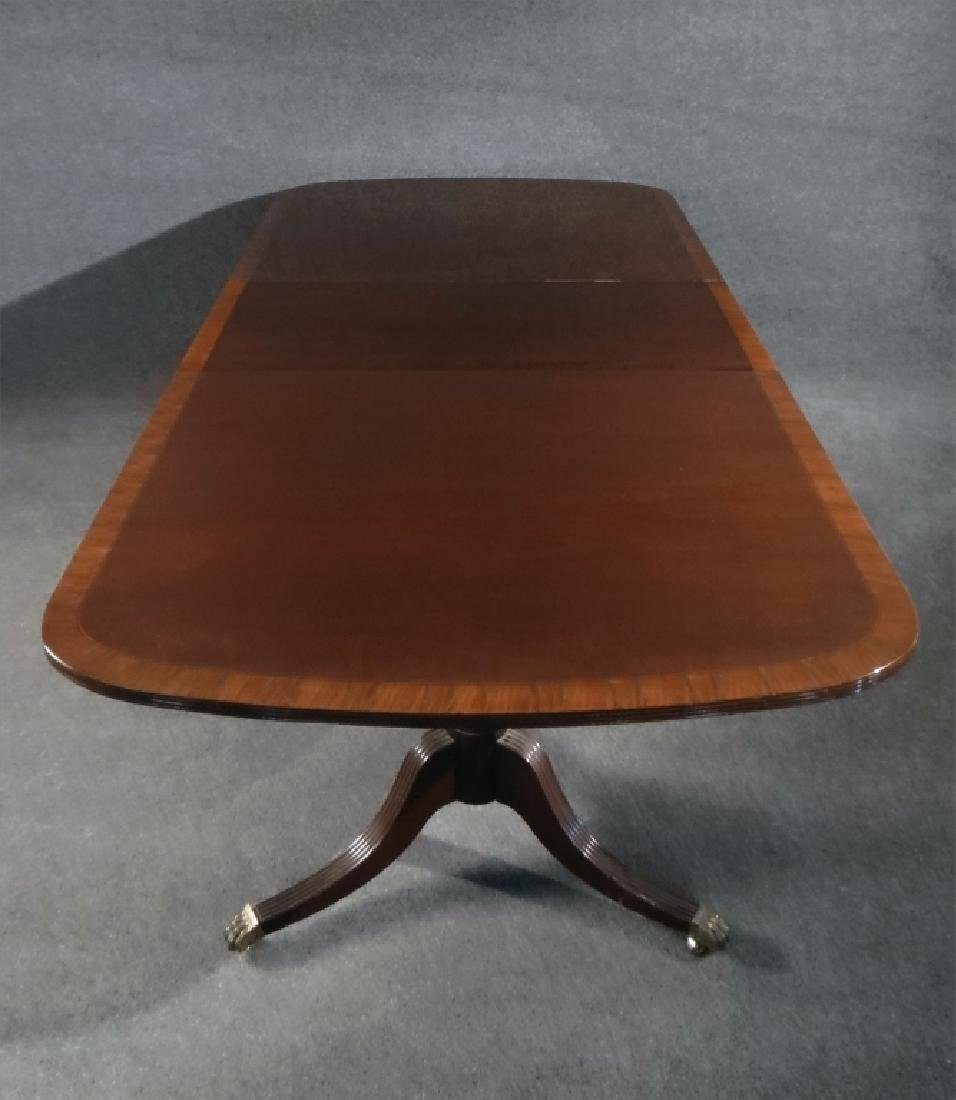 MAHOGANY DOUBLE PEDESTAL DINING TABLE W/ BANDED - 4