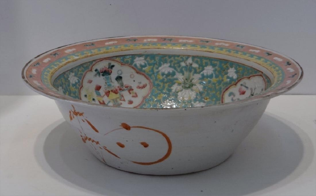 CHINESE 19THC. FAMILLE VERDE  BOWL 13 1/2""