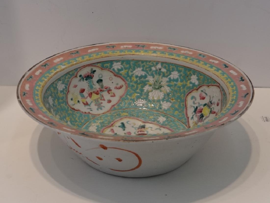 "CHINESE 19THC. FAMILLE VERDE  BOWL 13 1/2"" - 2"