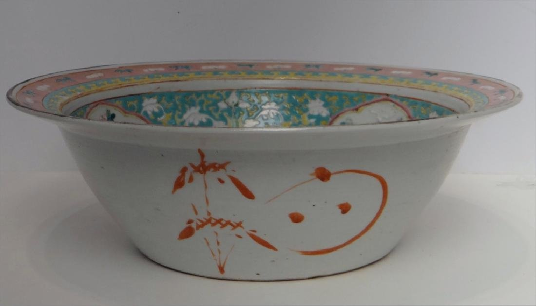 "CHINESE 19THC. FAMILLE VERDE  BOWL 13 1/2"" - 4"