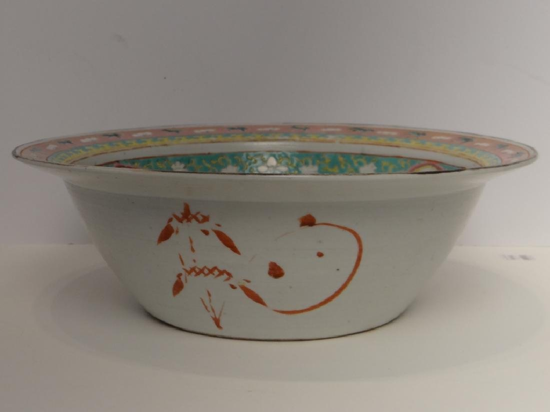 "CHINESE 19THC. FAMILLE VERDE  BOWL 13 1/2"" - 5"