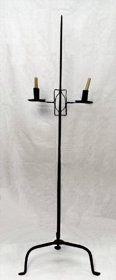 HAND WROUGHT IRON 2 LIGHT FLOOR CANDLE LAMP