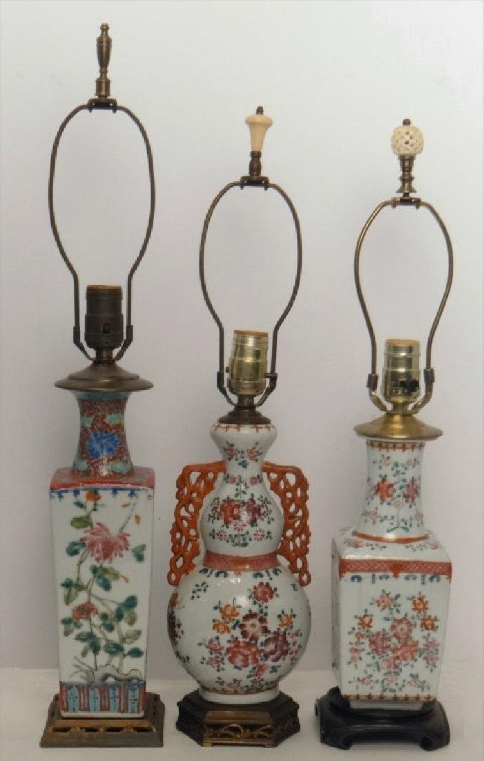 3 CHINESE EXPORT VASES, FASHIONED INTO LAMPS