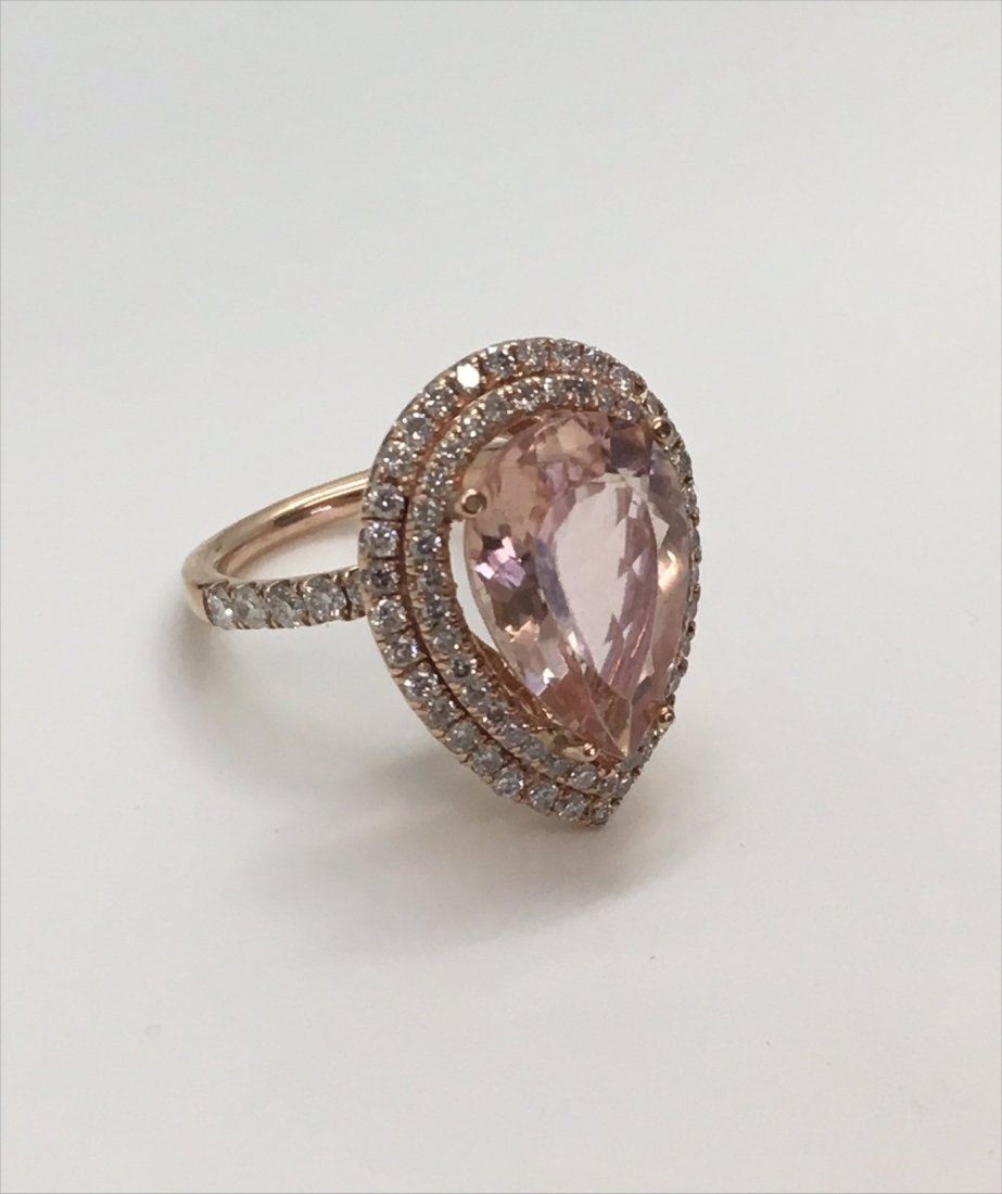 PINK PEAR SHAPED 5.4 CARAT MORGANITE RING