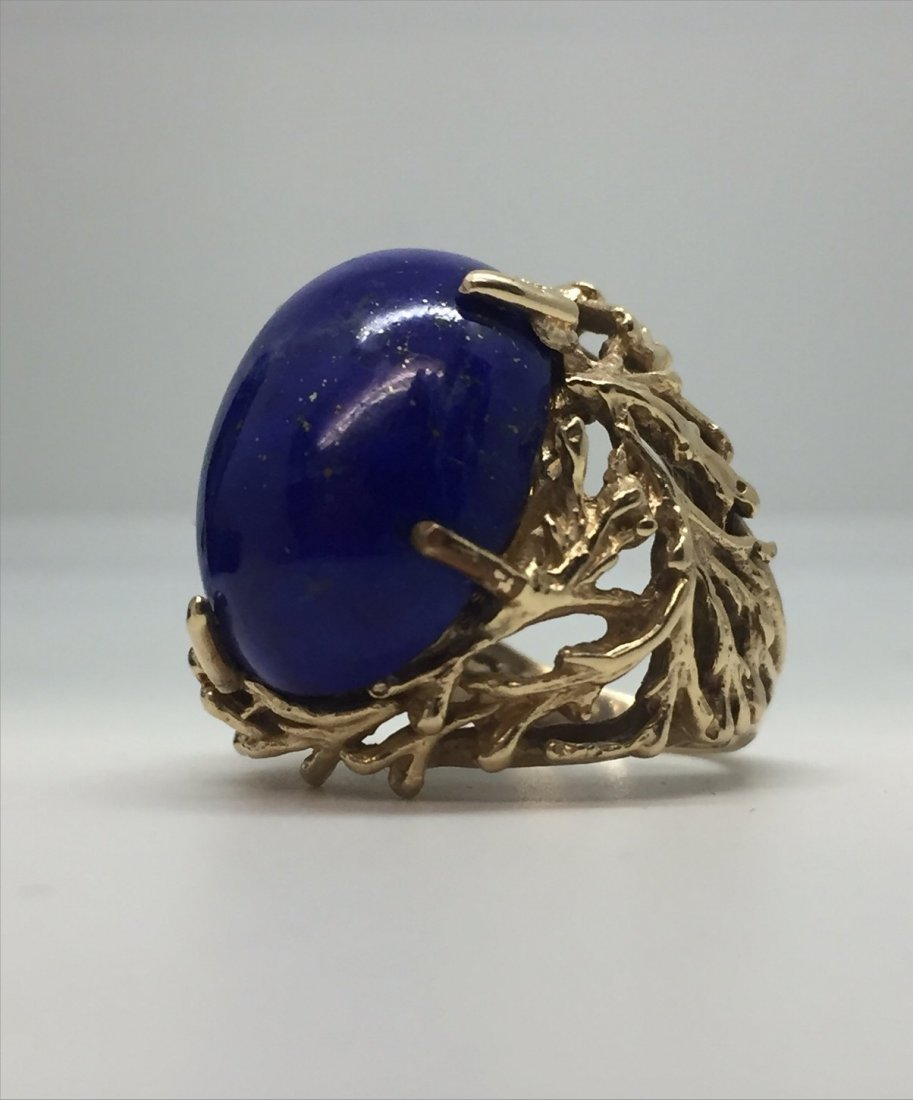 18KT YELLOW GOLD & LAPIS RING APPROX. 9.3 DWT