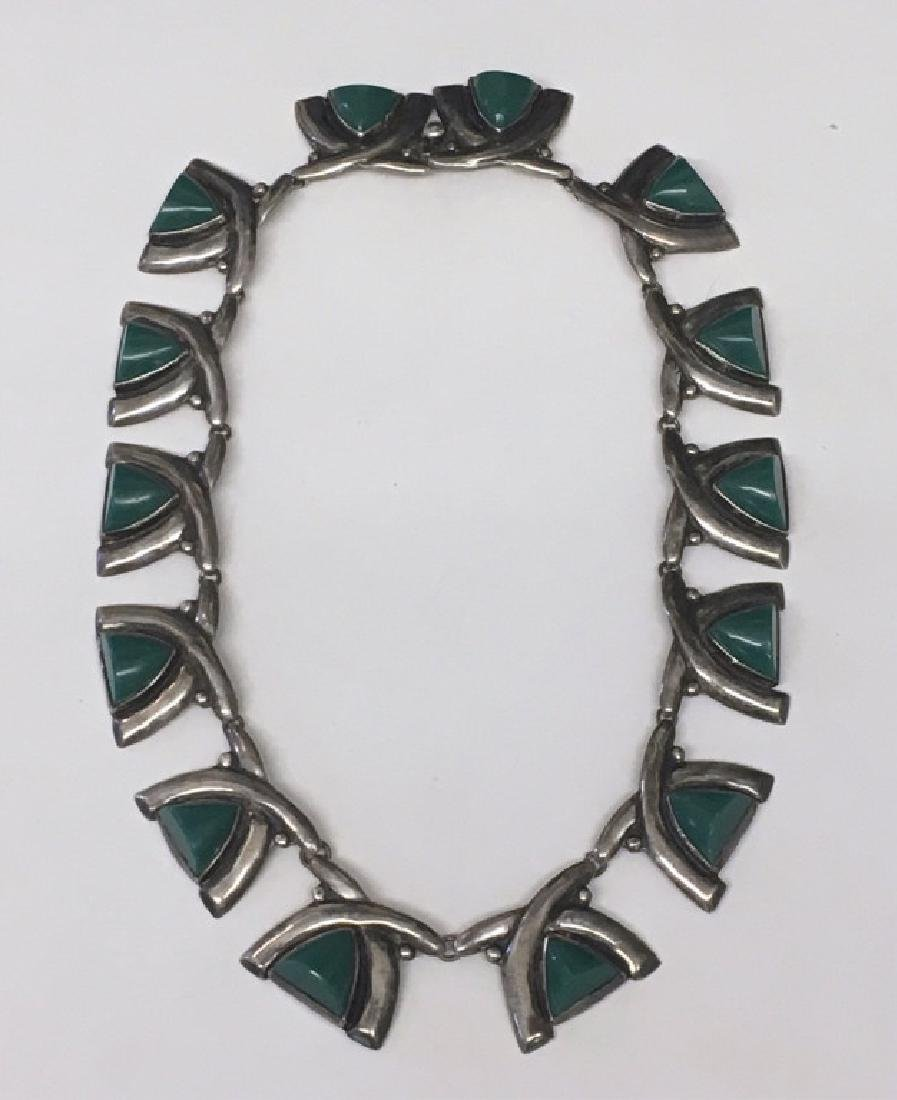 GREEN JADITE & STERLING SILVER NECKLACE, MARKED