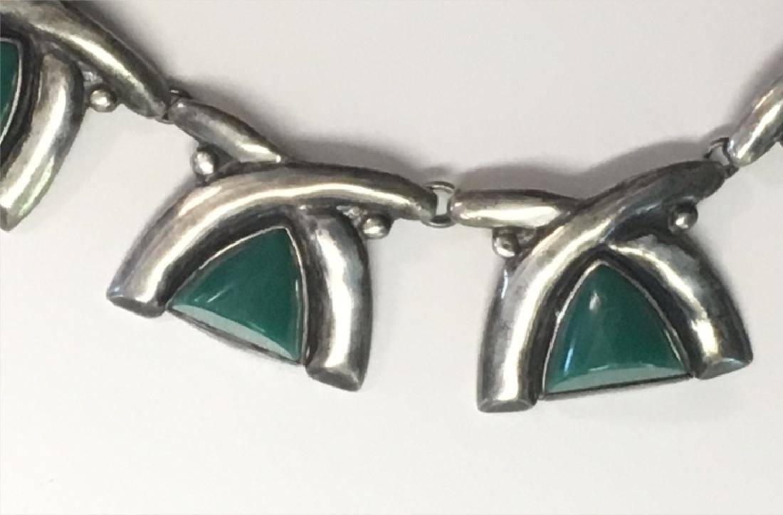 GREEN JADITE & STERLING SILVER NECKLACE, MARKED - 2