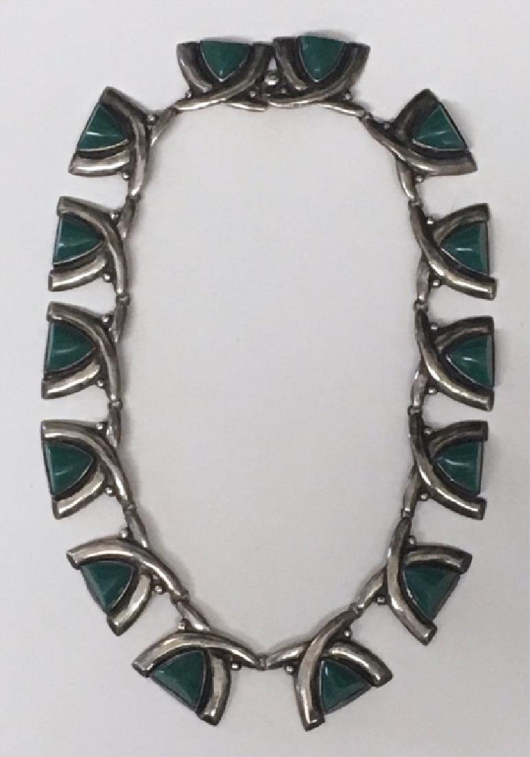 GREEN JADITE & STERLING SILVER NECKLACE, MARKED - 8