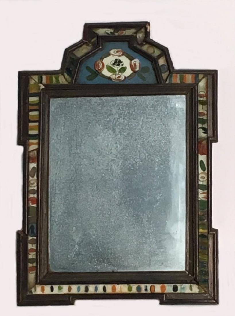 18THC. COURTING MIRROR WITH REVERSE PAINTED GLASS
