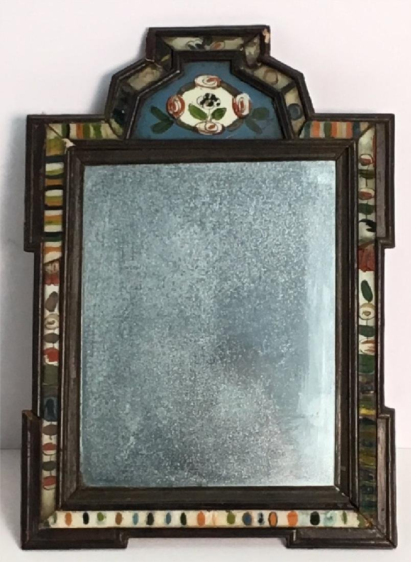 18THC. COURTING MIRROR WITH REVERSE PAINTED GLASS - 2