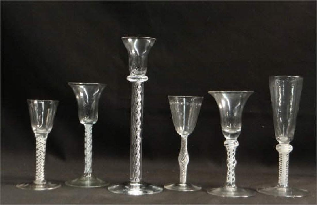 GROUP OF 6 BLOWN GLASSES W/ AIR TWIST STEMS