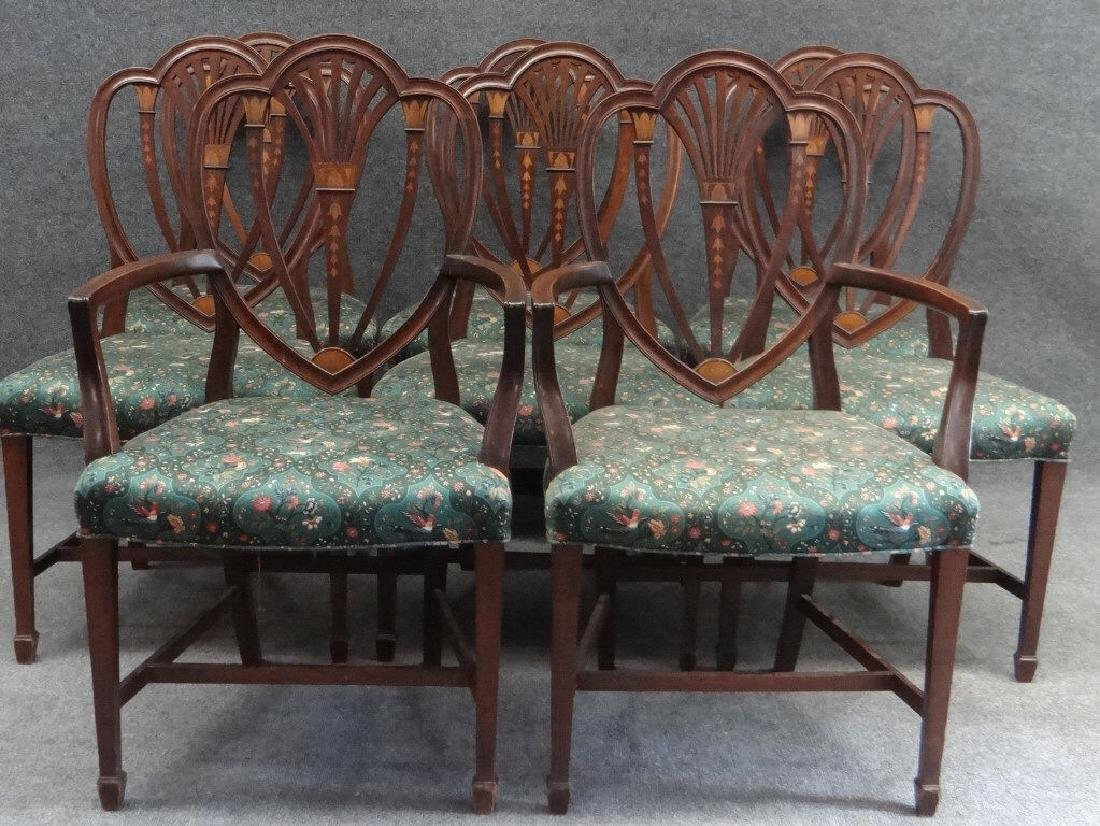 SET OF 8 19THC. HEPPLEWHITE STYLE  DINING CHAIRS