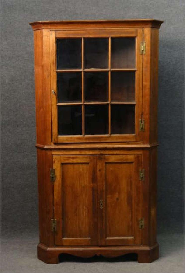 "EARLY 19THC. CORNER CUPBOARD W/ ""H"" HINGES"