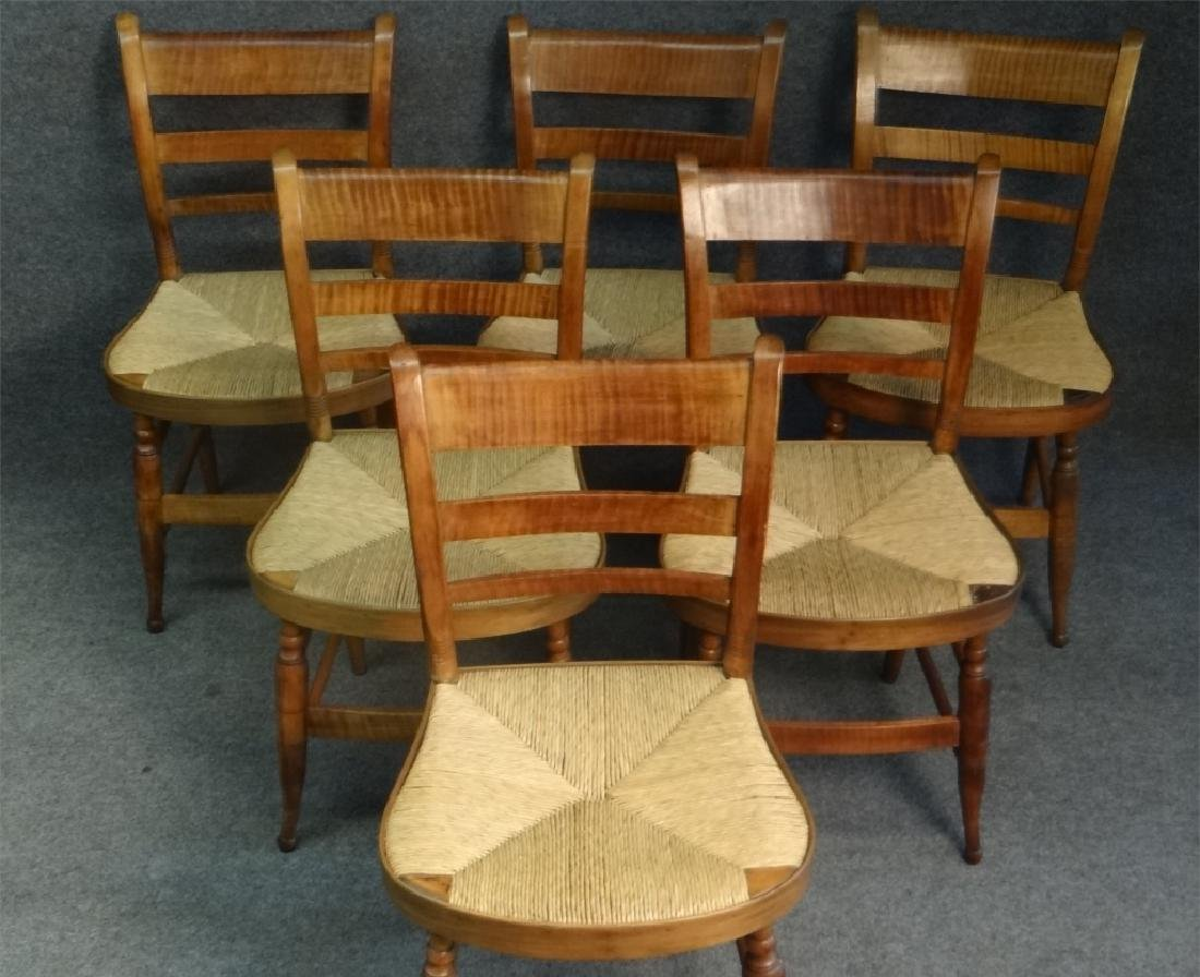 SET OF 6 TIGER MAPLE SHERATON FANCY CHAIRS - 2