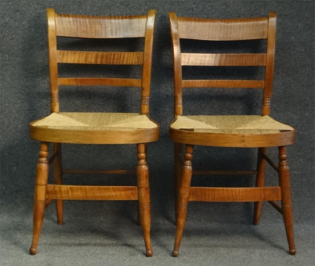 SET OF 6 TIGER MAPLE SHERATON FANCY CHAIRS - 3