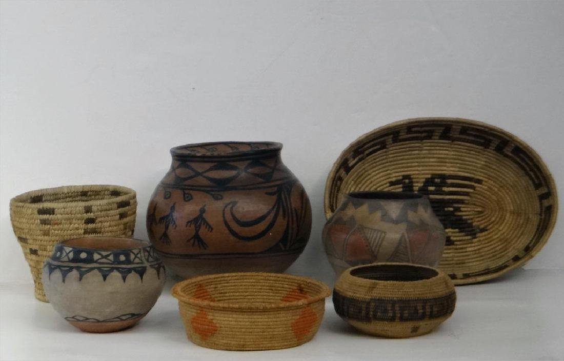 GROUP OF NATIVE AMERICAN POTTERY & BASKETRY