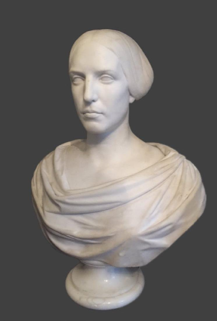 CLASSICAL LIFE SIZE MARBLE BUST, POSS. E.D. PALMER