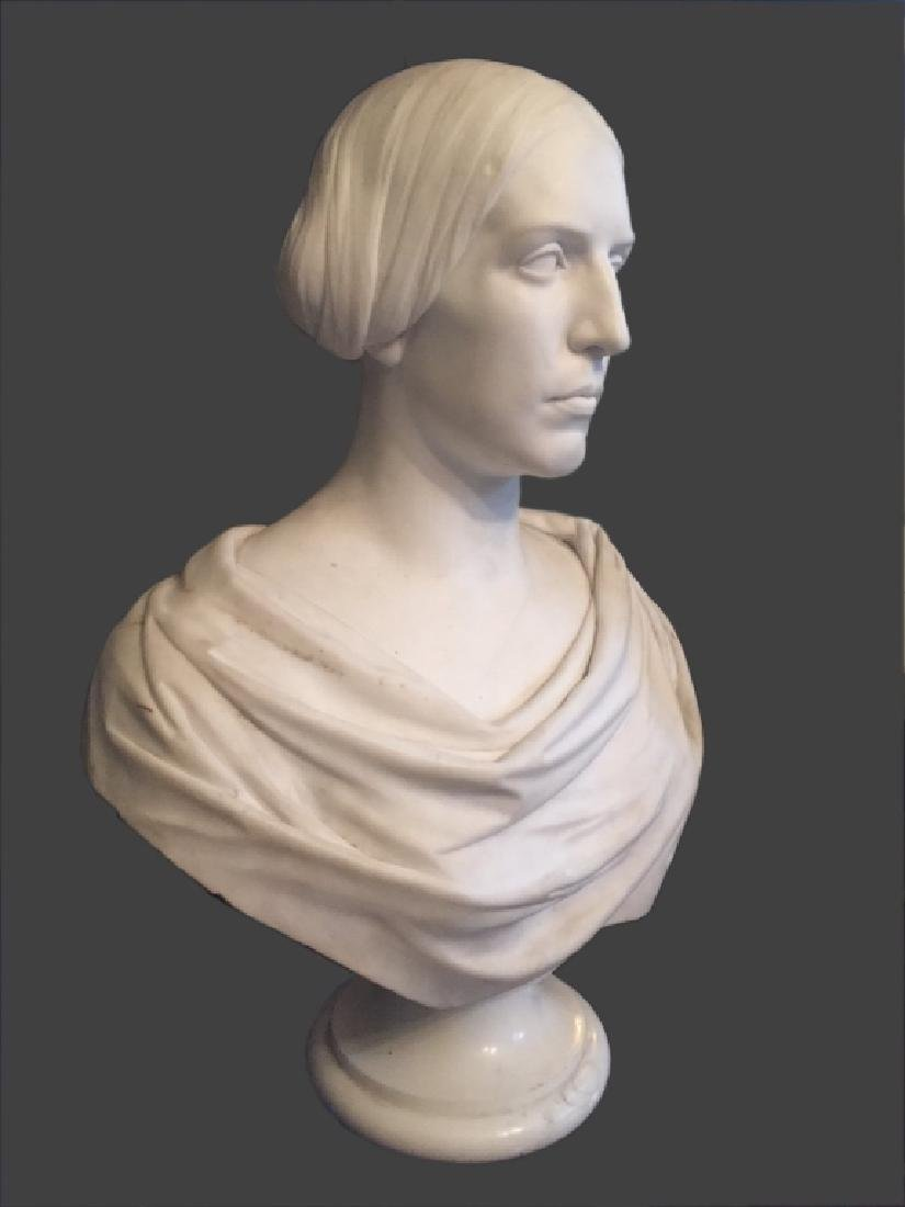 CLASSICAL LIFE SIZE MARBLE BUST, POSS. E.D. PALMER - 2