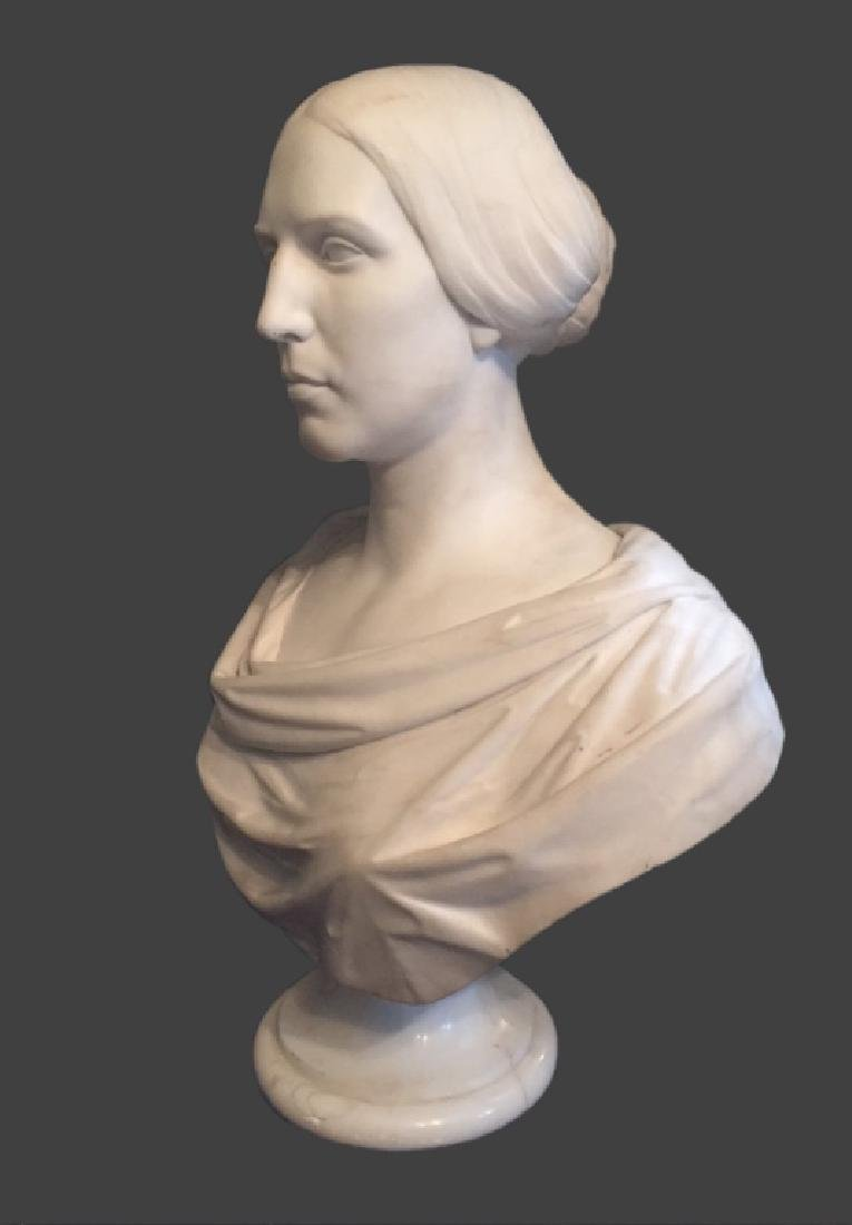 CLASSICAL LIFE SIZE MARBLE BUST, POSS. E.D. PALMER - 3