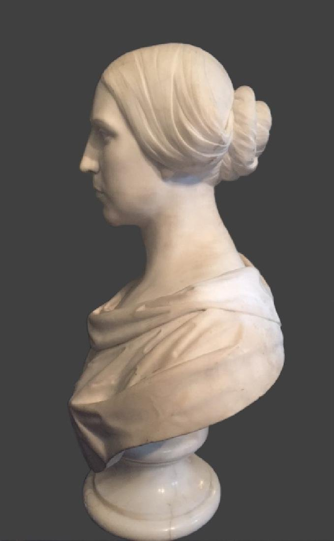 CLASSICAL LIFE SIZE MARBLE BUST, POSS. E.D. PALMER - 4