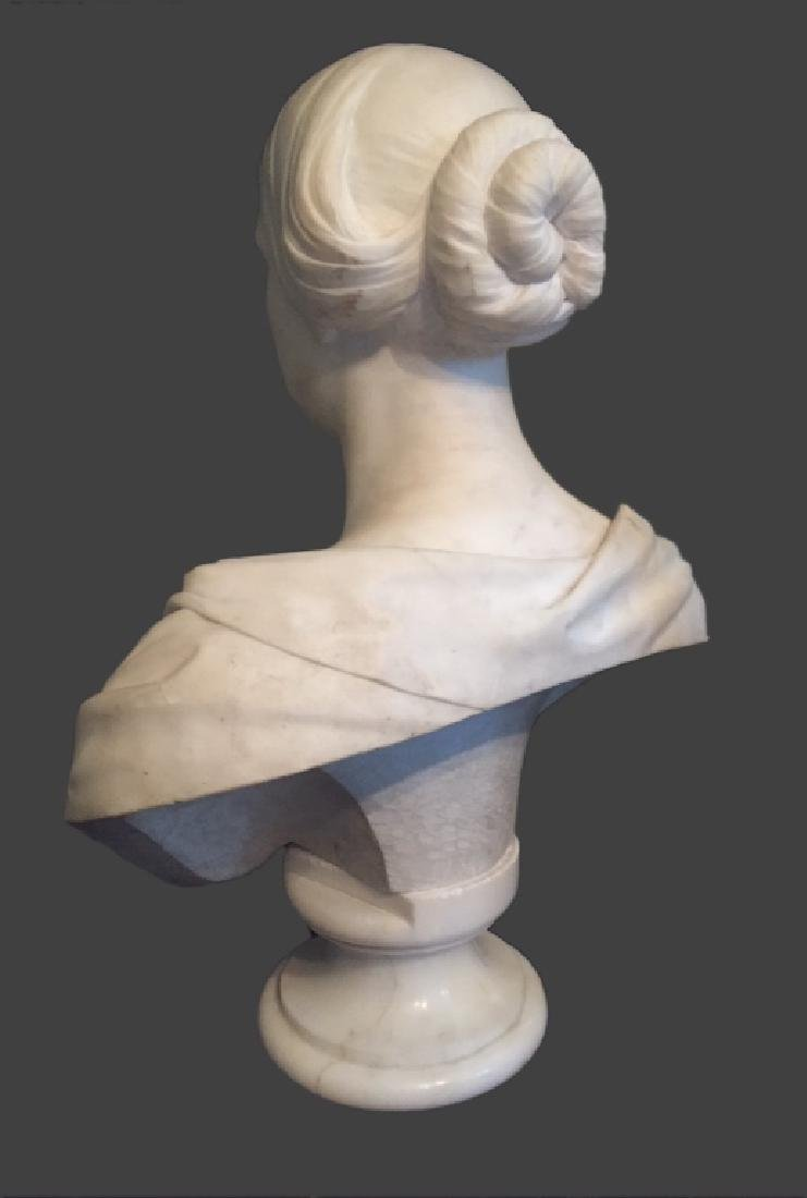 CLASSICAL LIFE SIZE MARBLE BUST, POSS. E.D. PALMER - 5